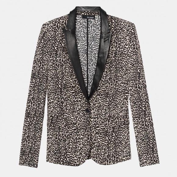 """The Kooples Jackets & Blazers - THE KOOPLES """"Baby Leopard"""" Leather Lapel Blazer"""